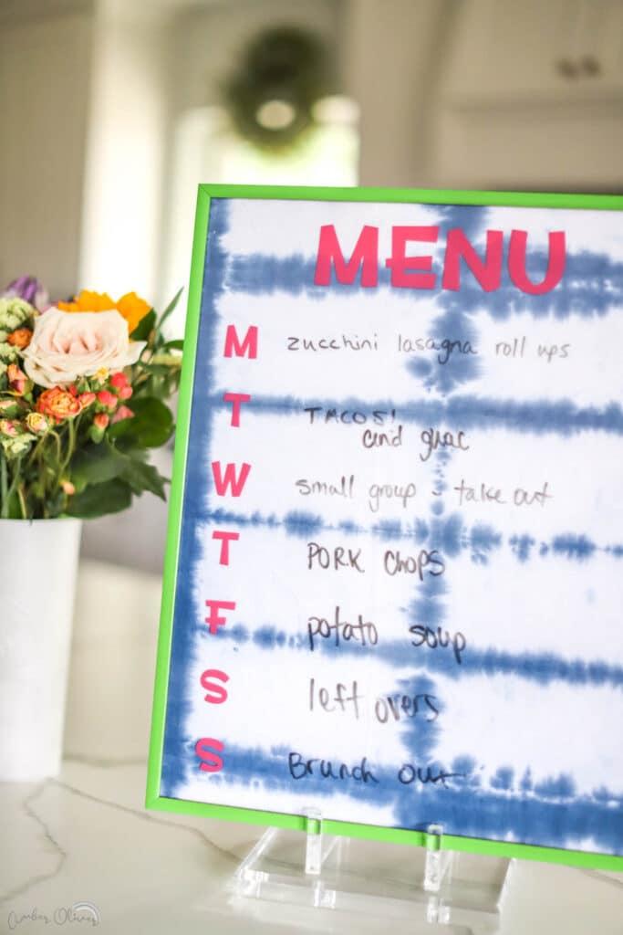 close up of diy kitchen menu