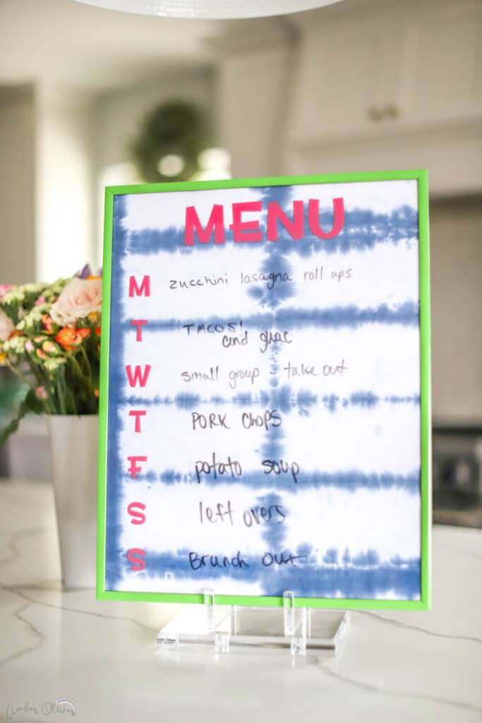 diy kitchen menu board on counter