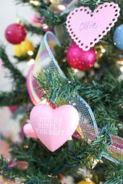 DIY schitt's creek ornaments on a Valentines tree