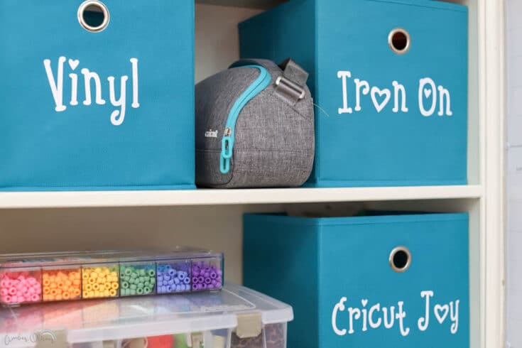 fabric bins with vinyl storage labels
