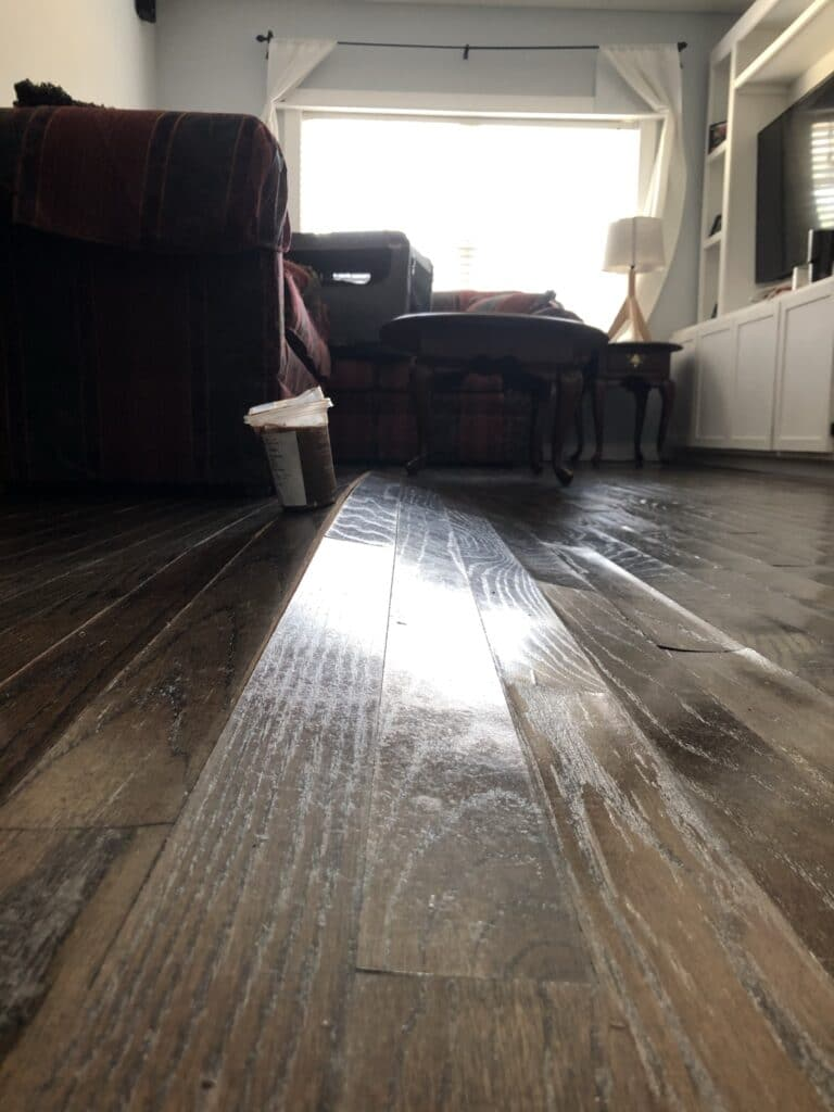 wood flooring damaged by burst pipes