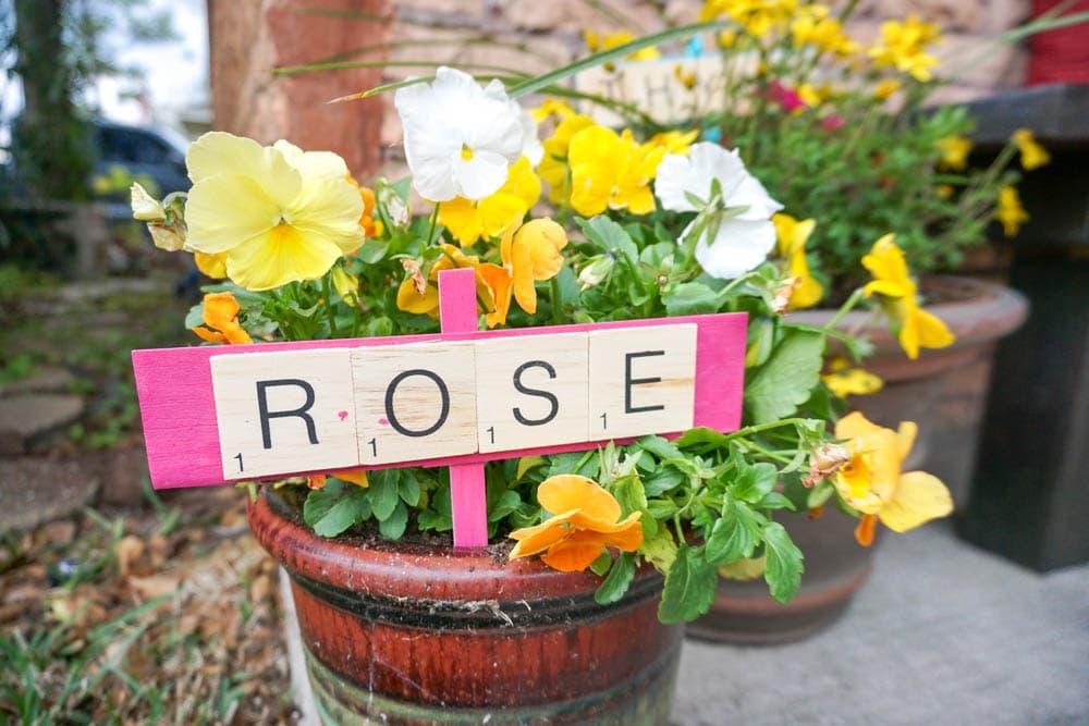 colorful DIY plant markers cute scrabble tile crafts idea