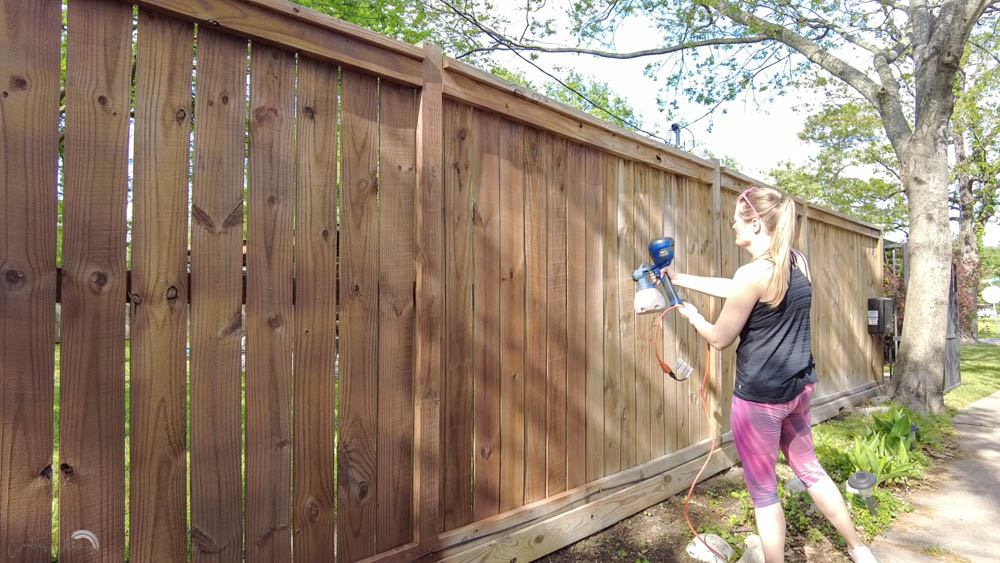 how to stain a fence easily with a paint sprayer