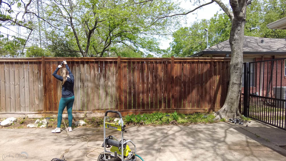using a pressure washer to clean a diy wood fence before adding stain