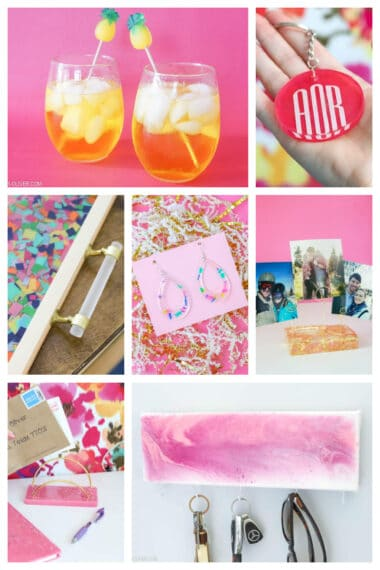 collage with 7 resin crafts vertical