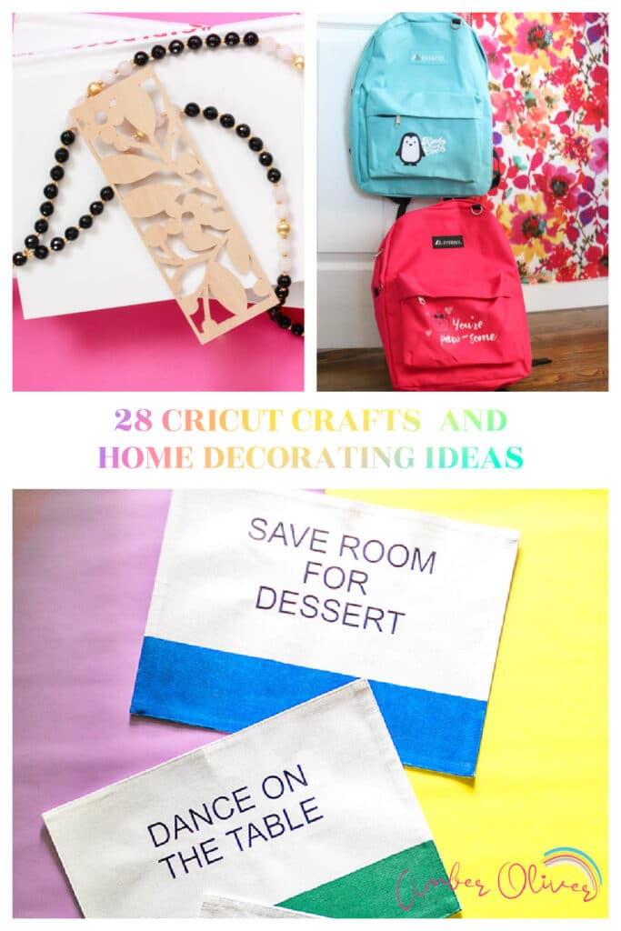cricut crafts and home decor pin collage with text overlay