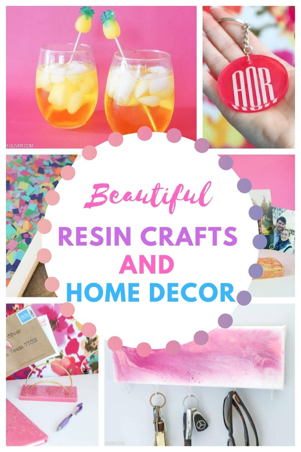 resin crafts and home decor projects pin collage with text overlay