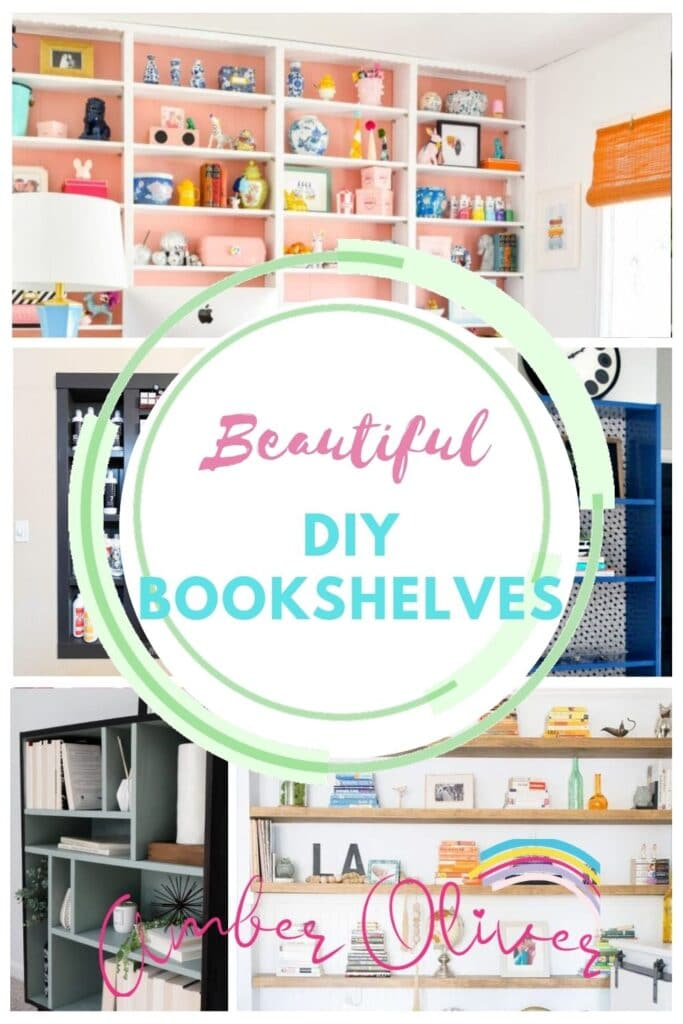 17 diy bookshelf ideas with text pin collage