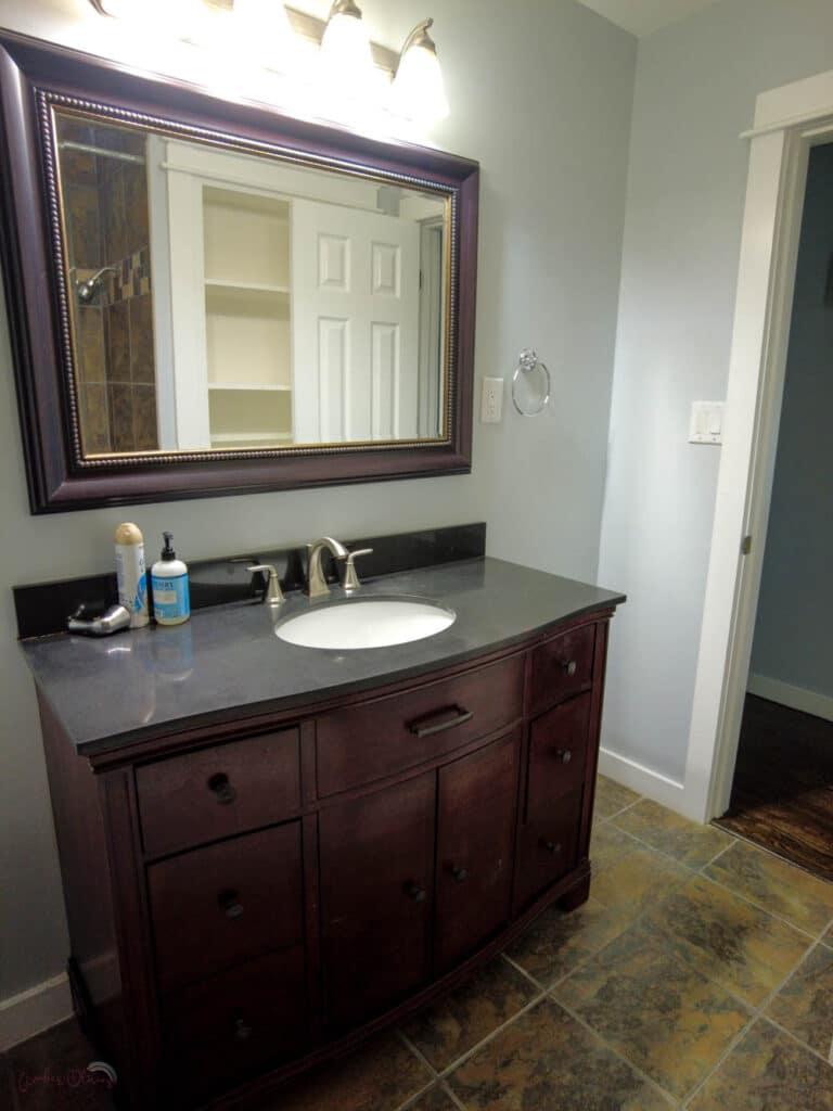 before photo of bathroom vanity