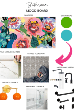 one room challenge mood board for bold and colorful bathroom